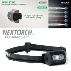 Torcia Frontale da Testa NEXTORCH Headlamp Trek Star LED 220 Lumens - BK