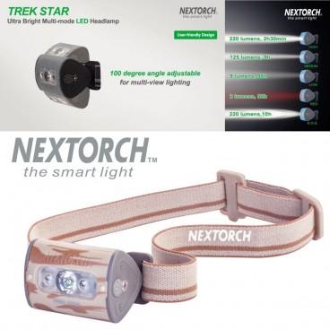 Torcia Frontale da Testa NEXTORCH Headlamp Trek Star LED 220 Lumens - CAMO