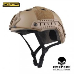 ELMETTO US EMERSON HELMET FAST PJ TYPE + RAIL LATERALE MILITARE SOFTAIR DESERT