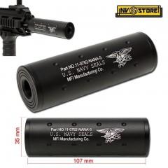 Silenziatore FMA per Fucile filettatura 14mm Logo NAVY SEALS Lunghezza 11cm NERO
