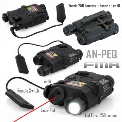 AN-PEQ FMA Torcia Led White + Puntatore Laser Red + Led IR + Comando Remoto BK