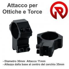Set 2 Pezzi Attacchi Anelli Ottica o Torcia 30x11 Alti x Fucile Carabina Airsoft