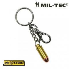 PORTACHIAVI CON PROIETTILE 9mm PISTOLA e MOSCHETTONE in Metallo PISTOL MILITARE