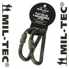 SET 2 PEZZI MOSCHETTONE MILTEC 8 cm CARABINER METAL MILITARE SOFTAIR SURVIVOR WL