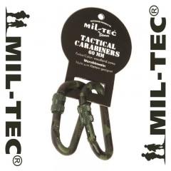SET 2 PEZZI MOSCHETTONE MILTEC 6 cm CARABINER METAL MILITARE SOFTAIR SURVIVOR WL