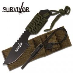 KNIFE COLTELLO DA CACCIA SURVIVOR 321 CON ACCIARINO FUOCO SURVIVAL SOPRAVVIVENZA