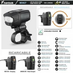Torcia Led da Bici FAVOUR B0417 Bike Light Ricaricabile 300 Lumens con Sensore