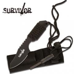 KNIFE COLTELLO DA CACCIA SURVIVOR 321B + ACCIARINO FUOCO SURVIVAL SOPRAVVIVENZA