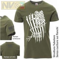 Maglia T-SHIRT Payper Militare NAVY SEALS FROGMEN Skull USA Maglietta Uomo BLU