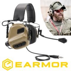 Cuffie EARMOR Opsmen M32 Riduzione Rumore + NRR22 Militari e da Poligono TAN