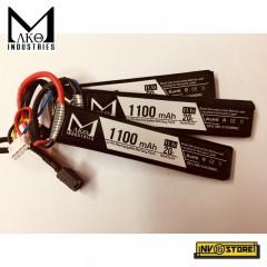 Batteria Lipo Li-Po MAKO INDUSTRIES 11,1V 1100 mAh 20C 3S per Fucili Softair DIN