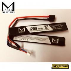 Batteria Lipo Li-Po MAKO INDUSTRIES 7,4V 1200 mAh 20C 2S per Fucili Softair DIN