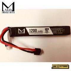 Batteria Lipo Li-Po MAKO INDUSTRIES 7,4V 1200 mAh 20C per Fucili Softair DIN