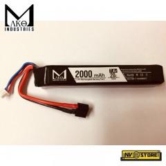 Batteria Lipo Li-Po MAKO INDUSTRIES 7,4V 2000 mAh 20C per Fucili Softair DIN