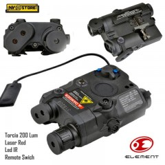AN-PEQ Element Torcia Led + Puntatore Laser Red + Led IR + Comando Remoto Black