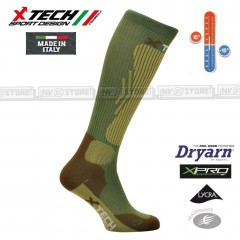 Calze Termiche Tecniche COMPRESSION X-TECH SPORT Made in Italy 100% Socks Green