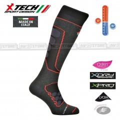 Calze Termiche Tecniche Q-SKIN X-TECH SPORT Made in Italy 100% Thermo Socks R BK