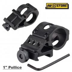 """Attacco Anello Angolare 90° Torcia 1"""" 25 mm per Weaver Picatinny Fucile Carabina"""