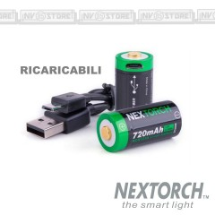 Set 2 Pezzi Batterie CR123 A Ricaricabili NEXTORCH 720 mAh Li-ion Battery USB