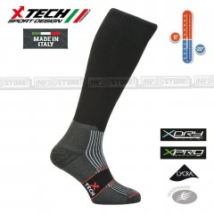 Calze Termiche Tecniche X-TECH SPORT Made in Italy 100% Thermo Socks W Black