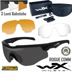 WILEY-X Rogue Comm Black Occhiali Balistici Protezione Balistica Kit con 3 Lenti