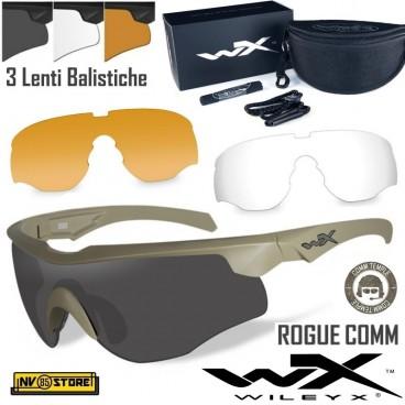 WILEY-X Rogue Comm Tan Occhiali Balistici Protezione Balistica Kit con 3 Lenti