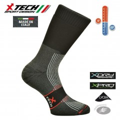 Calze Termiche Tecniche X-TECH SPORT Made in Italy 100% Thermo Socks WXT Black