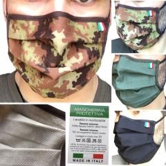 Set 5 Pezzi di Mascherina Protettiva Filtrante TNT + RipStop Cotone OEKO-TEX® Lavabile e Riutilizzabile MADE IN ITALY 100%