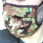 Mascherina Protettiva Filtrante TNT + RipStop Cotone OEKO-TEX Lavabile Riutilizzabile MADE IN ITALY Mimetica Vegetato Militare