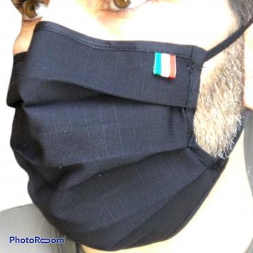 Mascherina Protettiva Filtrante RipStop Cotone TNT Lavabile MADE IN ITALY Mimetica Vegetato Militare Verde Nera