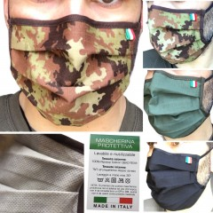 Mascherina Protettiva Filtrante RipStop Mimetica Vegetato Militare Verde Nera Cotone TNT Lavabile MADE IN ITALY