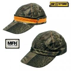 Cappello Berretto MFH Hunting Caccia Camouflage Bosco + fascia ALTA Visibilità M