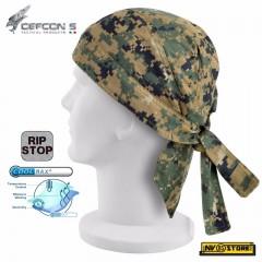 Bandana Mimetica Militare DEFCON 5 in RIPSTOP COOLMAX Traspirante MARPAT USMC