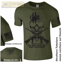Maglia T-SHIRT Militare NAVY SEALS USA Punisher Teschio M4 Maglietta Uomo Verde