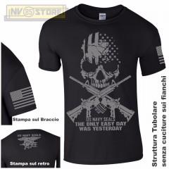 Maglia T-SHIRT Militare NAVY SEALS USA Punisher Teschio M4 Maglietta Uomo Nero G