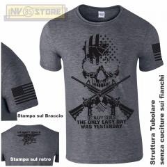 Maglia T-SHIRT Militare NAVY SEALS USA Punisher Teschio M4 Maglietta Uomo Grigio