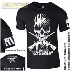 Maglia T-SHIRT Militare NAVY SEALS USA Punisher Teschio M4 Maglietta Uomo Nero B