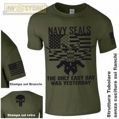 Maglia T-SHIRT Militare NAVY SEALS American Sniper Punisher Teschio Maglietta OD