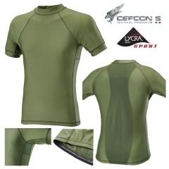 Maglia Tattica DEFCON 5 T-Shirt Lycra + Mesh Manica Corta Militare Softair OD