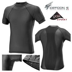 Maglia Tattica DEFCON 5 T-Shirt Lycra + Mesh Manica Corta Militare Softair NERO