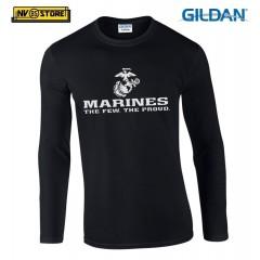 Maglia Manica Lunga GILDAN Marines Corps USMC Maglietta in Stampa Serigrafia BK