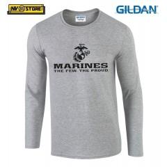 Maglia Manica Lunga GILDAN Marines Corps USMC Maglietta in Stampa Serigrafia SG
