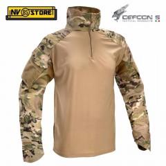 Maglia Tattica DEFCON 5 Multicam LYCRA YKK Manica Lunga Combat Shirt Militare