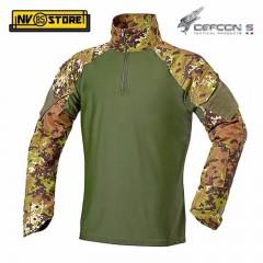 Maglia Tattica DEFCON 5 Vegetato LYCRA YKK Manica Lunga Combat Shirt Militare