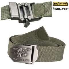 CINTURA MILTEC con Logo NAVY SEALS TACTICAL BELT SOFTAIR SURVIVOR CAMPING VERDE