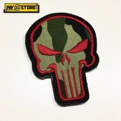 Patch Ricamata Skull Sniper Navy Seals Teschio 8 x 6 cm Militare RED con Velcrog