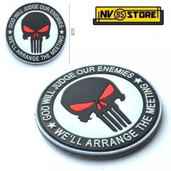 Patch PVC Teschio SNIPER Punisher Navy Seals 8cm Militare Softair con Velcrogrip