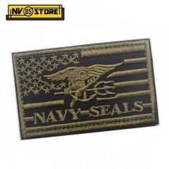Patch Ricamata Bandiera US Navy Seals 8 x 5 cm O Militare Softair con Velcrogrip