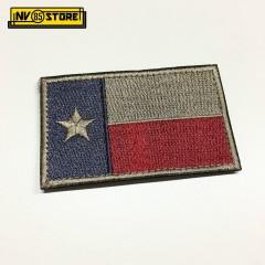 Patch Ricamata Bandiera Texas Bassa Visibilità Tan 8 x 5 cm Militare con Velcrog