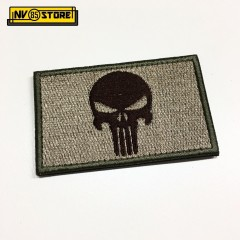 Patch Ricamata Skull Sniper Punisher Navy Seals 8 x 5 cm Militare TAN con Velcr